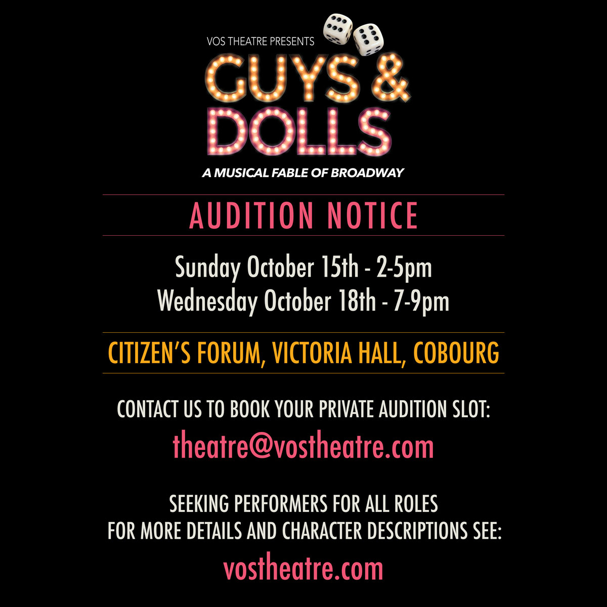 Guys and Dolls Audition Notice